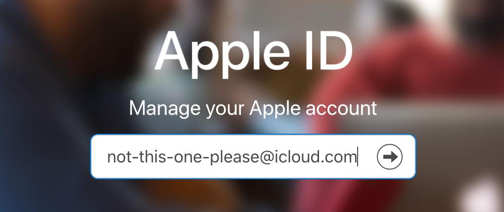 Screenshot of Apple ID login form with email address filled in: not-this-one-please@icloud.com