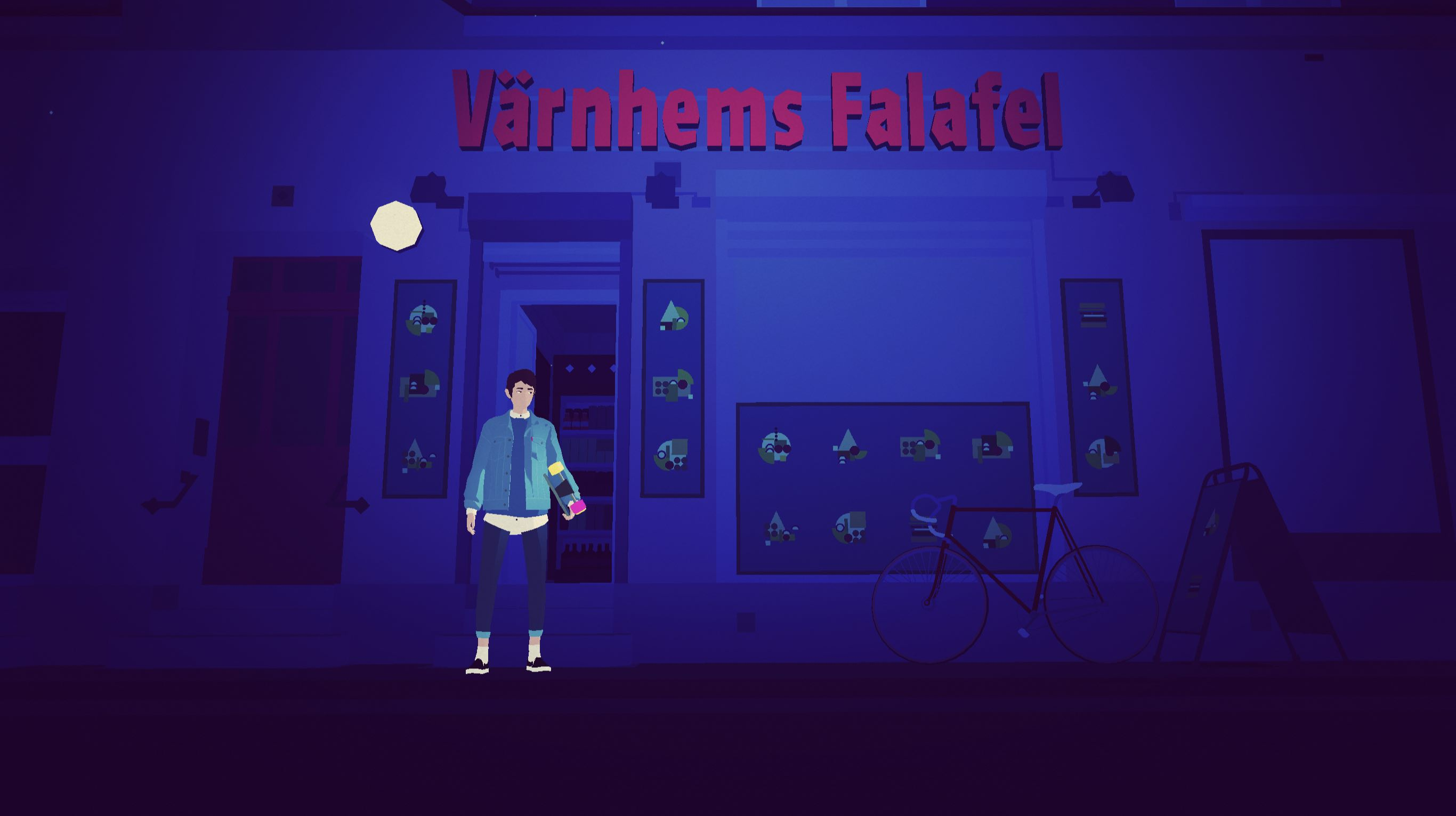 Screenshot from Sayonara Wild Hearts: A person in front of a Falafel restaurant, all in a blue color pallette.